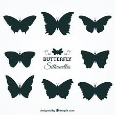 set of butterfly silhouettes with variety of designs vector free