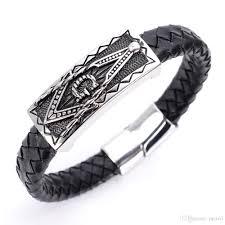 bracelet leather man silver images Men 39 s wrap freemason bracelet masonic bracelet male genuine jpg