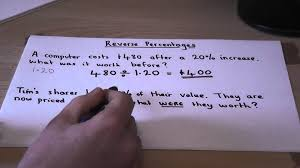how to calculate percentage change reverse percentages finding