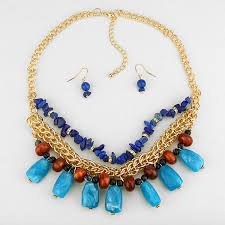natural stone statement necklace images Blue semi precious stone fragments nuggets statement necklace jpg