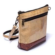leaf leather shoulder bag brown made tree tribe
