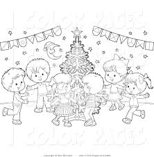 vector coloring page of a coloring page of kids dancing around a