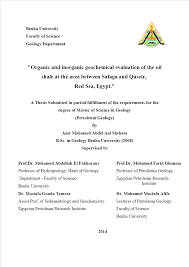 Sedimentology And Geochemical Evaluation Of Author Shehata Amr Mohamed Abdel Aal Title Organic And