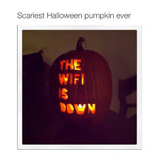 scariest halloween pumpkin jack o lantern the wifi is down