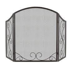 uniflame venetian bronze 3 panel fireplace screen with leaf