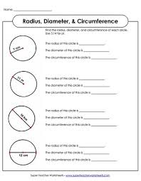 radius u0026 diameter worksheets circumference u0026 area worksheets