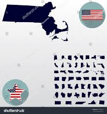 State Flag Of Massachusetts Map Us State Massachusetts On White Stock Vector 645920389