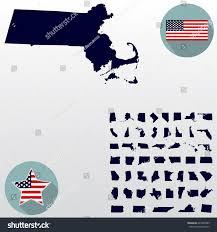 Mass State Flag Map Us State Massachusetts On White Stock Vector 645920389