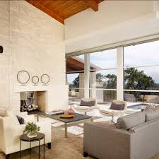 austin stone living room contemporary with display shelves