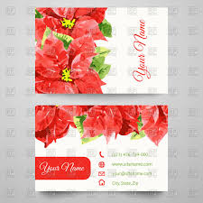 business card templates with red flowers vector image 98163