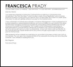 franchise cover letter sample livecareer