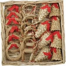 straw ornaments set of 20 pieces wicker basket straw