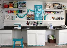 Craft Room Cabinets Pretty Craft Room Ideas Featuring White Stained Wooden Desk And