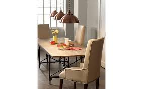 kitchen collection southton go big with large copper finish pendant lights over a wood top table