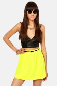 cute neon yellow skirt skater skirt mini skirt 32 00