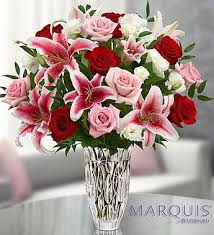 roses and lilies marquis by waterford and bouquet in gaylord mi