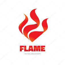red flame vector logo concept illustration fire vector logo
