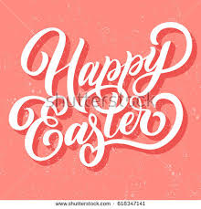 hand lettering happy easter fancy calligraphy stock vector