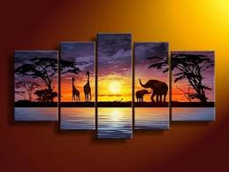 Living Room Art Canvas by African Painting Sunset Painting Abstract Art Canvas Painting