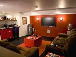 Brown Red And Orange Home Decor Interior Garage Man Cave Ideas Cream Concrete Floor Modern Tv