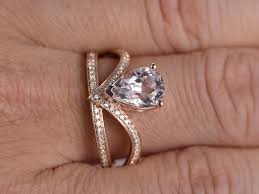 7x10mm pear shaped morganite and engagement ring 14k