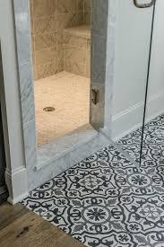black and white terranean mosaic bathroom floor tiles