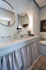 trough sink bathroom contemporary with beige wall concrete ceiling