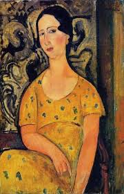 modigliani woman with a fan young woman in a yellow dress aka madame modot by amedeo