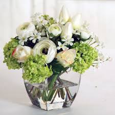 Square Vase Flower Arrangements Jane Seymour Botanicals 8 In White And Chartreuse Bouquet With
