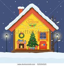 christmas house cut snow house interior stock vector 515194525