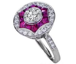 engagement ring art deco engagement ring pink sapphire u0026 diamond