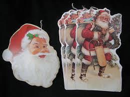 Christmas Window Decorations Vintage by Vintage Christmas Window Decorations Card Stock Die Cut 4 Santas