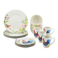 Corelle Dinnerware At Walmart Paula Deen Dinnerware Garden Rooster 16 Piece Stoneware Dinnerware