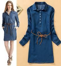fashion trends belt collar long sleeves knee length women dress