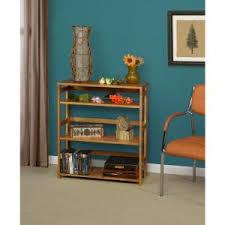 niche flip flop medium oak 3 shelf square folding bookcase