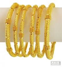new gold set 22k gold filigree bangles set asba57691 22k gold bangle set