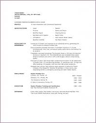 Plumbing Resume Sample by Plumbers Resume Template Resume For Your Job Application