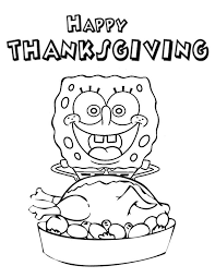 spongebob happy thanksgiving coloring page spongebob