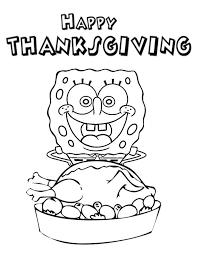 spongebob happy thanksgiving coloring page spongebob