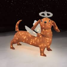 Outdoor Lighted Christmas Angels by Lighted Dachshund Outdoor Sacharoff Decoration