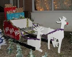 Wooden Christmas Reindeer Yard Decorations by Christmas Sleigh From Recycled Wood