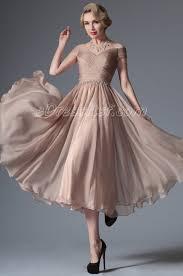 new rosy brown shoulder tea length formal dress edressit