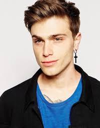 hoop earrings for men lyst asos cross hoop earrings in black in black for men