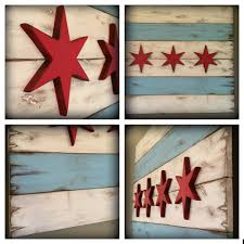 Chicagos Flag 36 X 21 Rustic Wood Chicago Flag