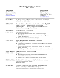 chronological resume templates 100 exle of a chronological resume templates how to write