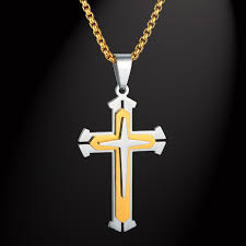 mens christian jewelry 316l stainless steel box chain 3 layer cross necklace gold