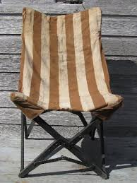1940s vintage folding camp or beach chair w old striped cotton seat