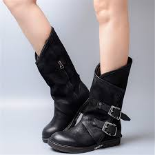 motorcycle booties buckle strap flats casual shoes woman side zipper motorcycle booties