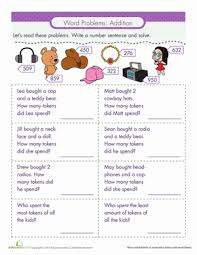 word problems addition word problems worksheets and second grade