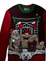 mens light up ugly christmas sweater ugly christmas sweater men s romantic santa light up at amazon men s